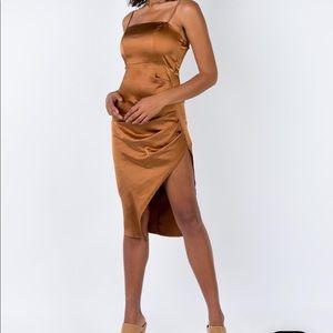 BULLI MIDI DRESS COPPER - Tan Cocktail Silk Dress